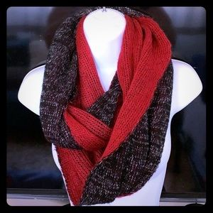 Double sided Infinity Scarf Red Black & Silver